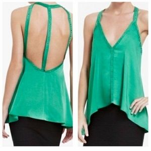 NWT BCBGMAXAZRIA Green Satin Tank Top